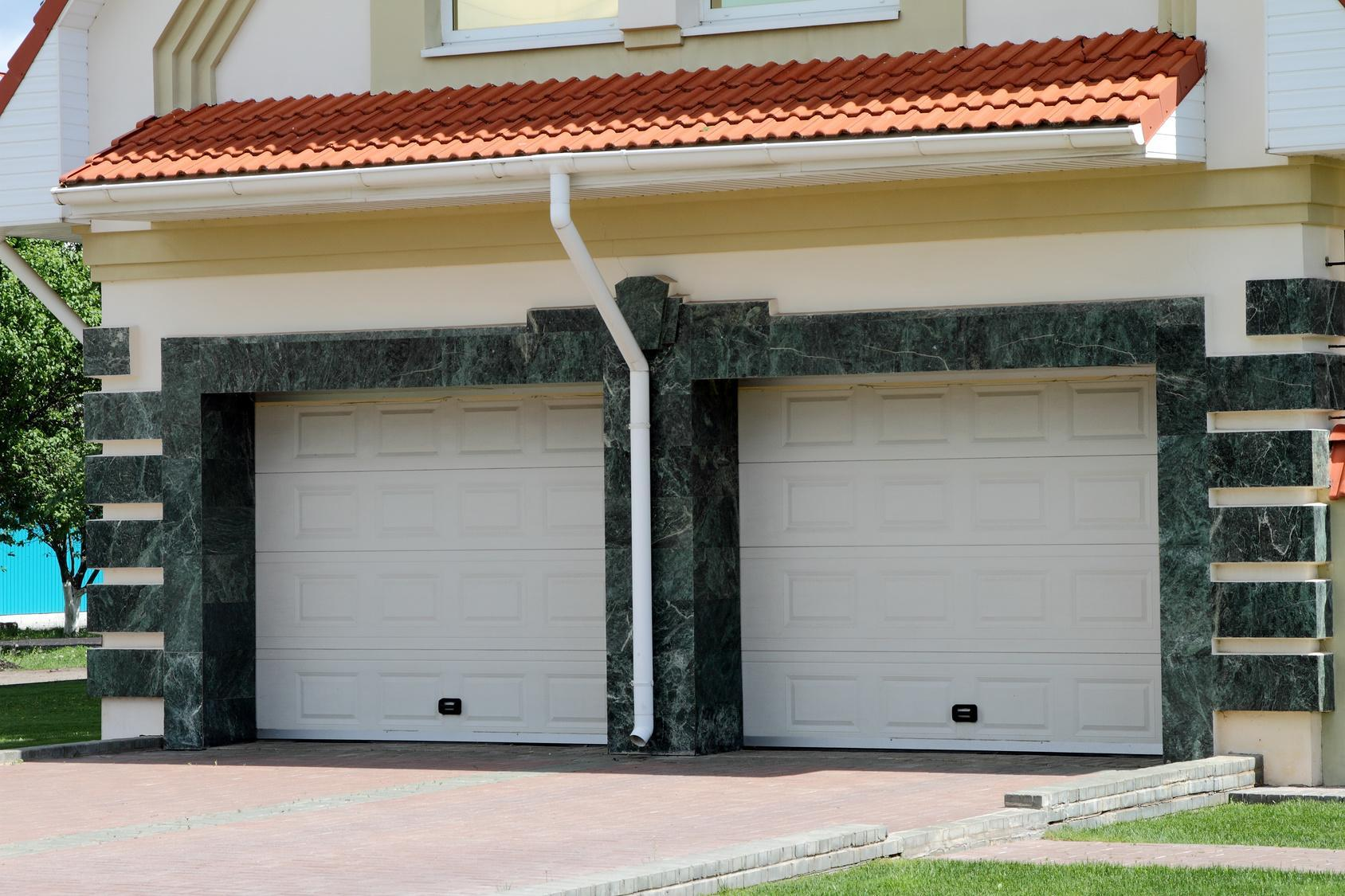 Modern Garage door for 2 cars marble.